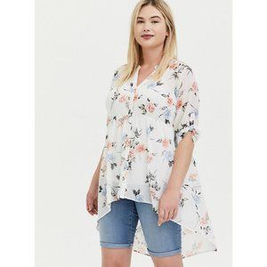 TORRID LEXIE FLORAL CHIFFON HIGH LOW TUNIC TOP AT